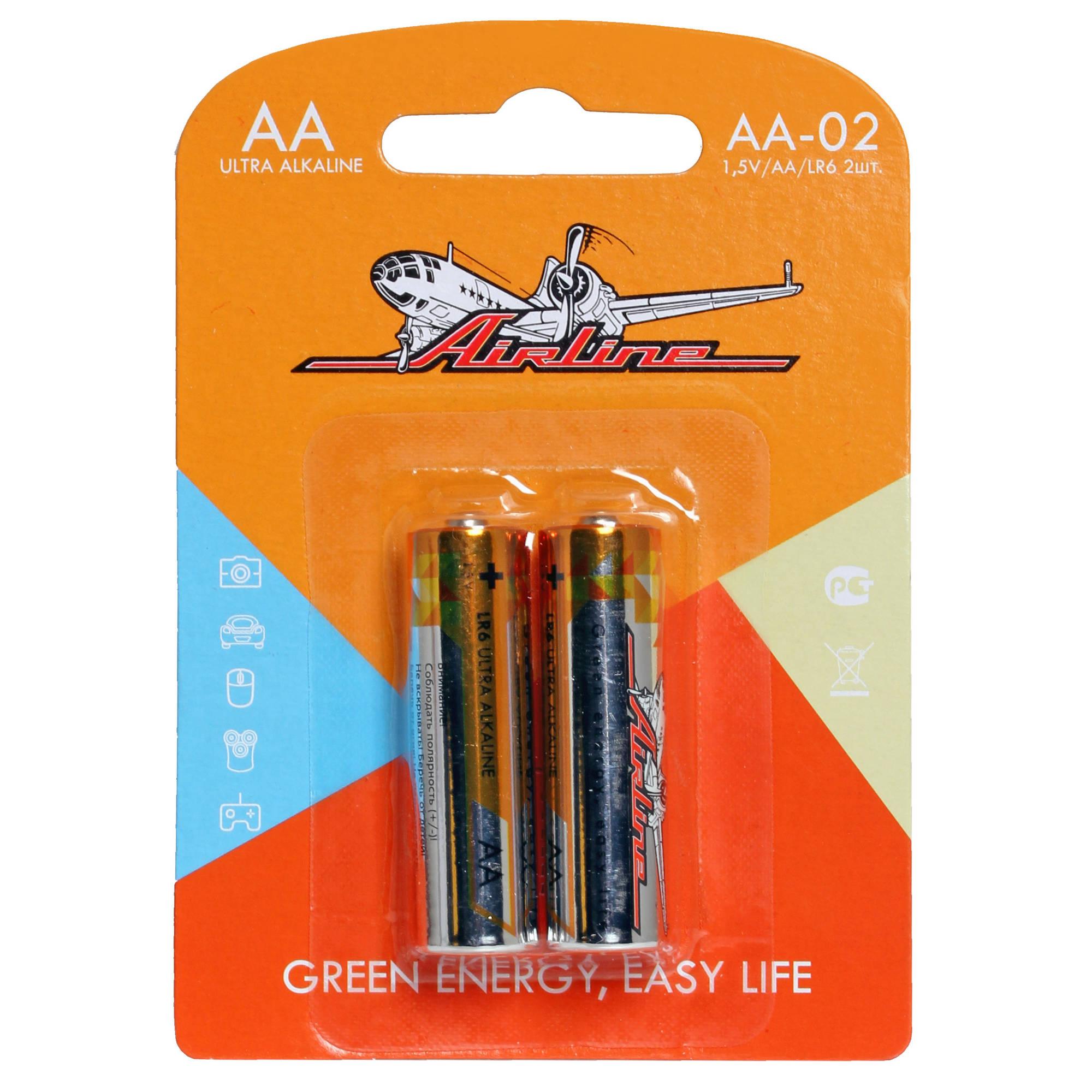 Элемент питания LR06 Airline (AA-пальчиковые) 2шт. AA-02