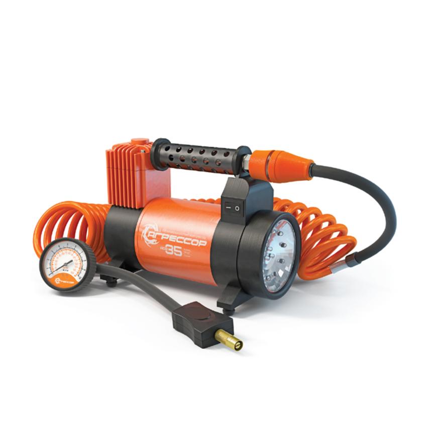 Компрессор Autoprofi Агрессор 35 л/мин до 10 атм 180 Вт фонарь 0,35 Вт AGR-35L