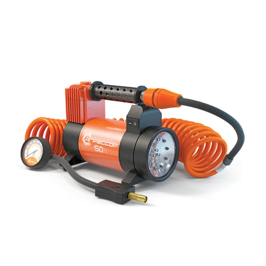 Компрессор Autoprofi Агрессор 50 л/мин до 10 атм 280Вт фонарь 0,5Вт AGR-50L