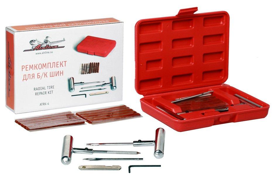 Набор для ремонта бескамерных шин Airline (шило, рашпиль, нож, 10 жгутов) в кейсе