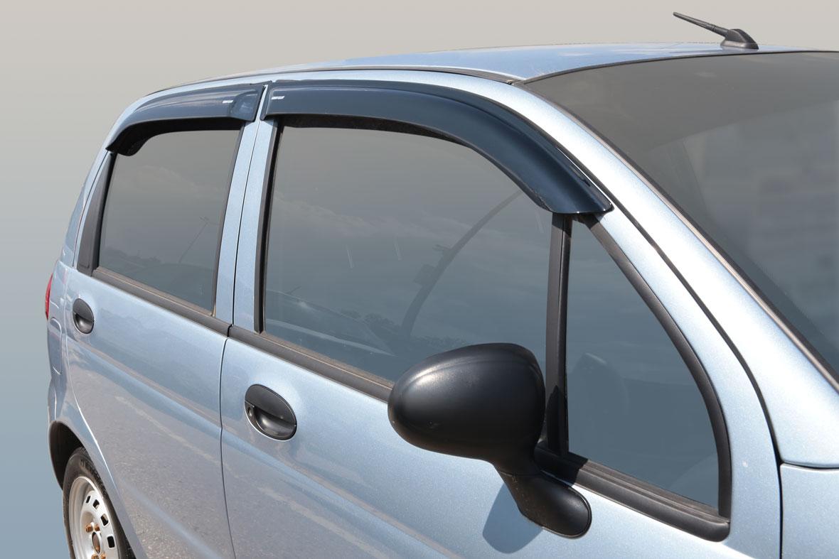 Дефлекторы на боковые стекла Daewoo Matiz 2005 накладные неломающиеся 4 шт. Voron Glass ДЕФ00229