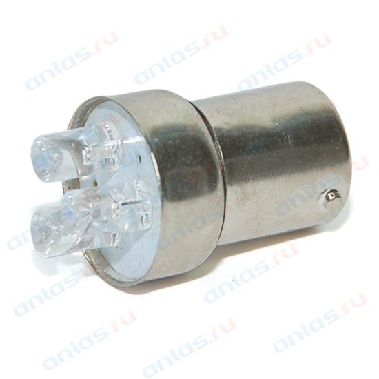 Светодиод 12В 5Вт металлический цоколь красный 3 LED (габариты) Диалуч 005-R