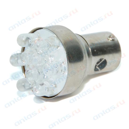 Светодиод 12В 21Вт металлический цоколь 1-конт. белый 9 LED (поворот) Диалуч ЛДД006-W