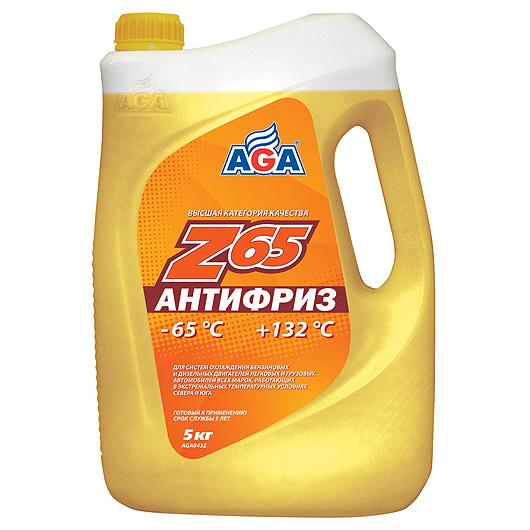Антифриз AGA желтый -65С/+132С готовый 5 л AGA043Z