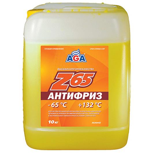 Антифриз AGA желтый -65С/+132С готовый 10 л AGA044Z