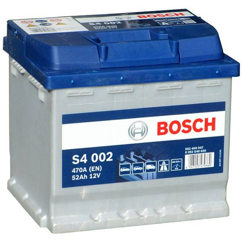 Аккумулятор Bosch S4 52 А/ч о.п ток 470 207х175х190