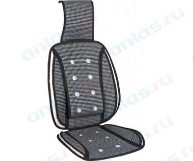 Накидка на сиденье массажная бамбук плетеная черная PSV
