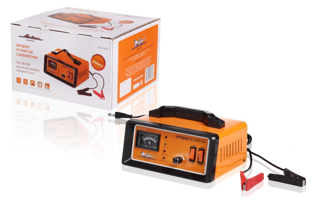 Зарядное устройство Airline 12/24 В 15 A амперметр, ручная регулировка тока, импульсное ACH-15A-08